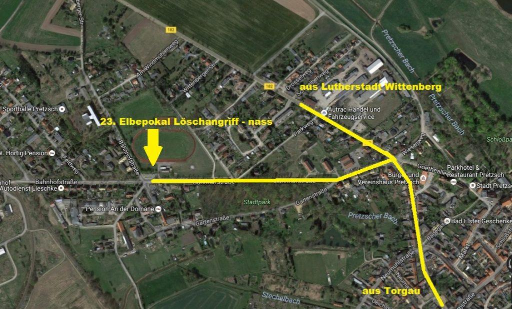 Anfahrtsweg Sportplatz Pretzsch